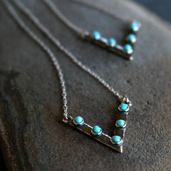V Turquoise Necklace - Genuine Turquoise NS02097Q
