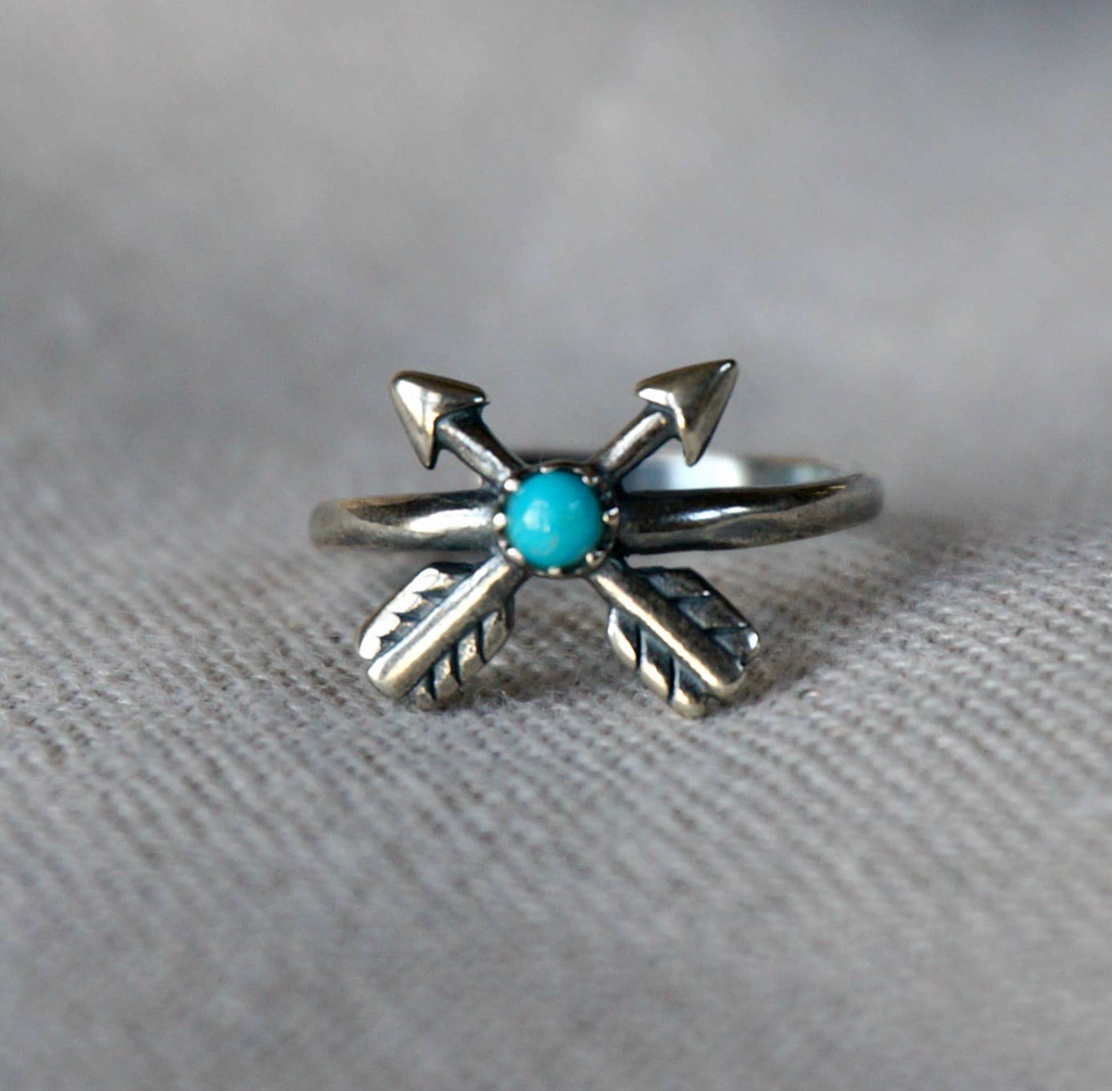 Cross + Arrow Turquoise Ring - Genuine Turquoise RS2762TQ