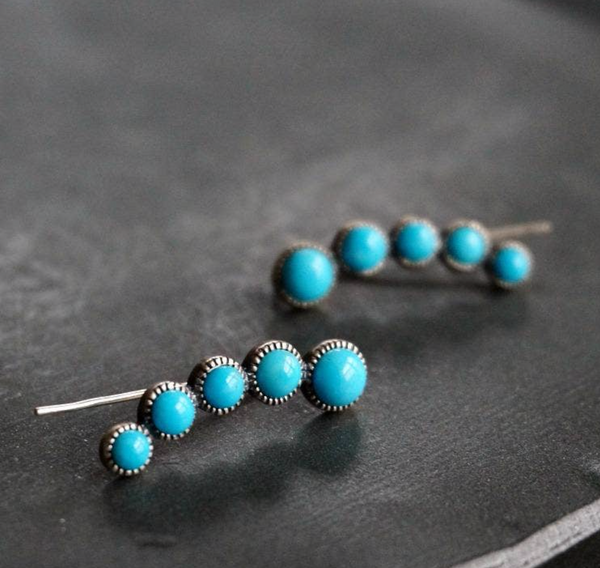 Cluster Turquoise Earrings  - Genuine Turquoise
