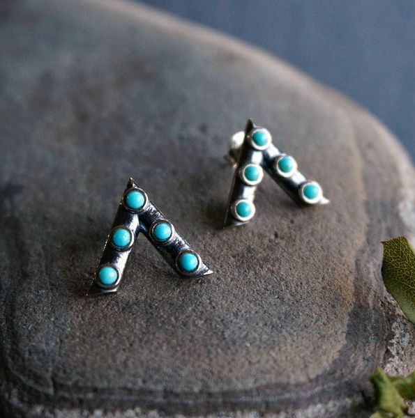 V Turquoise Studs - Genuine Turquoise