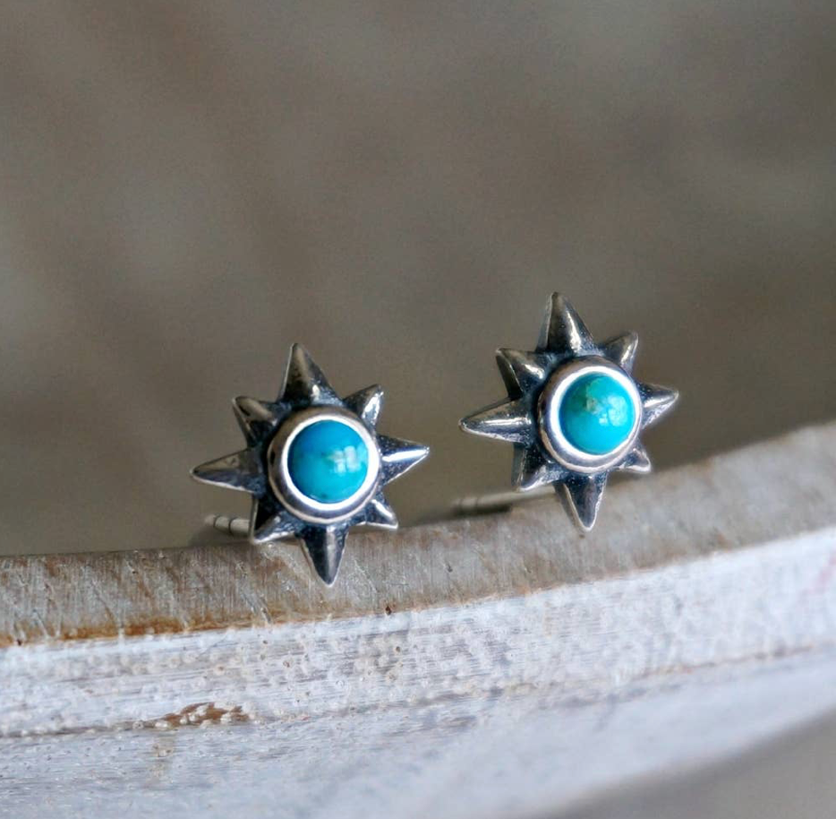 Galaxy Turquoise Studs - Genuine Turquoise