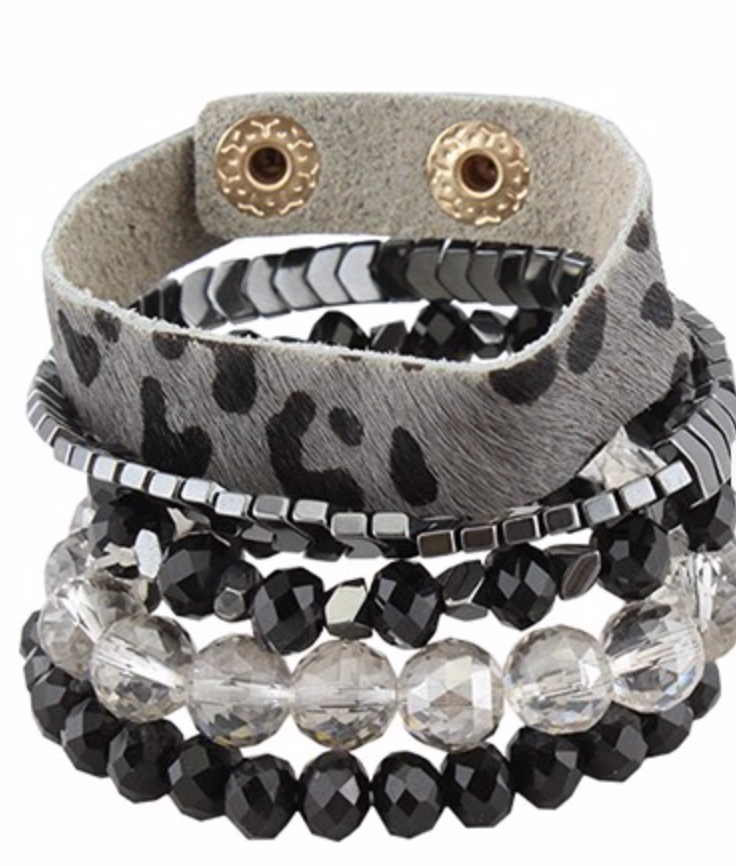 Leopard Bracelet Stack - 3 Colors
