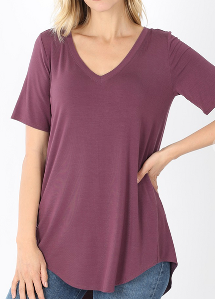 Eggplant - Basic V-Neck T-Shirt