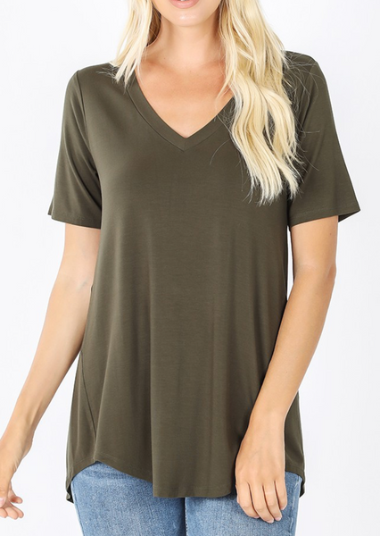 Dark Olive - Basic V-Neck T-Shirt