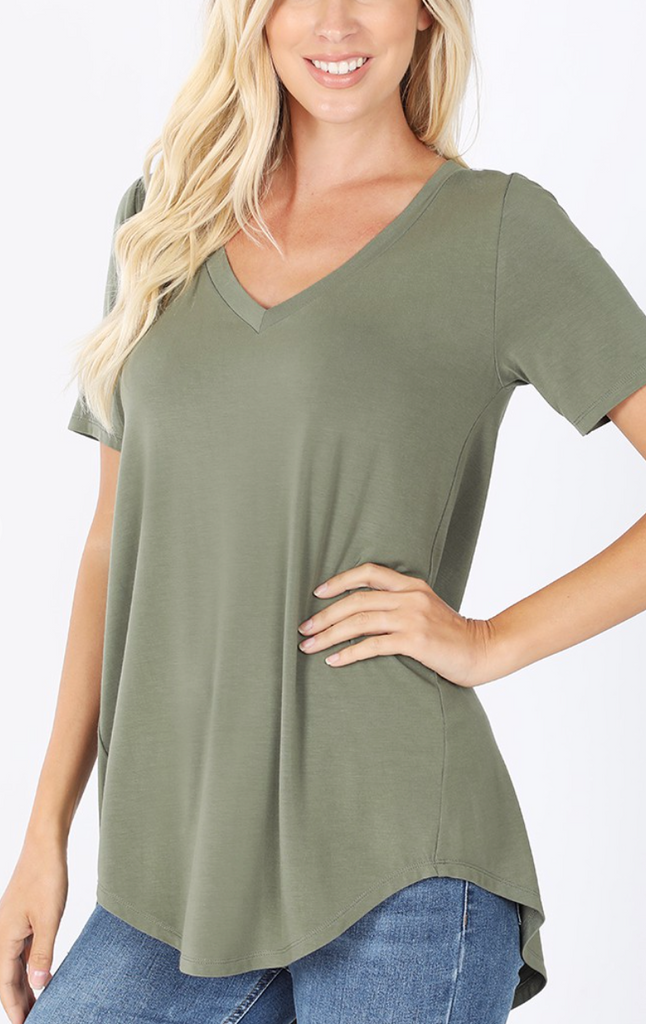 Light Olive - Basic V-Neck T-Shirt