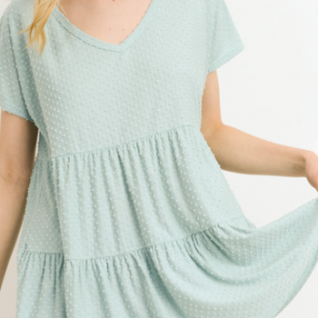 Walkin' After Midnight- Dotted Tunic Top- Mint