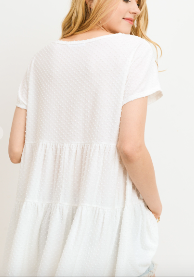 Walkin' After Midnight- Dotted Tunic Top- White
