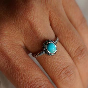 Single Stone  - Genuine Turquoise Ring