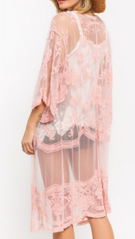 Rose Pink Embroidered Lace Duster