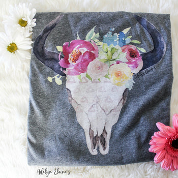 READ DESCRIPTION - Spring Queen T-Shirt - Watercolor Floral Bull Skull