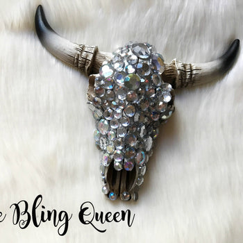 PRE-ORDER - The Bling Queen Bull Skull Rear View Mirror Hangers