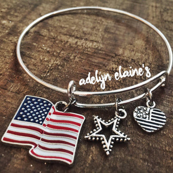 USA Stars and Stripes American Flag Bangle