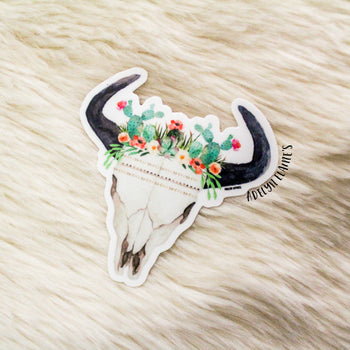 Cactus Queen Bull Skull Sticker
