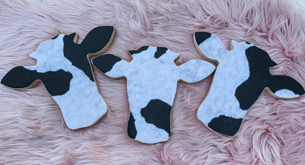 Cow Print Cow Head Wood Wall Hanging