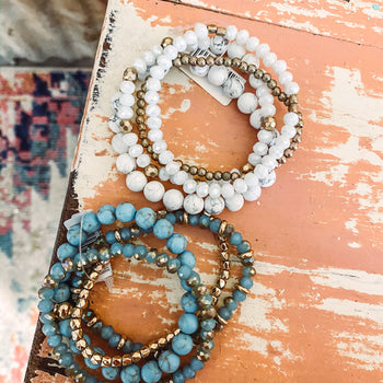 Marble + Turquoise Gold Stack