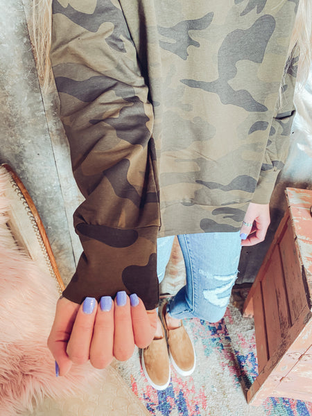 Long Sleeve Camo Print Sweater