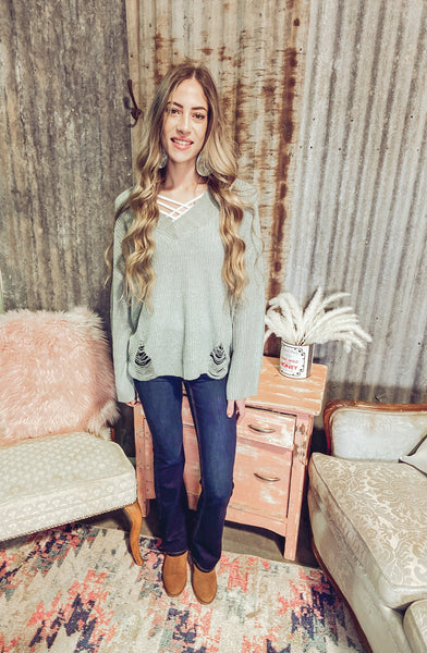 Love Letters- Distressed Knit Sweater- Seafoam