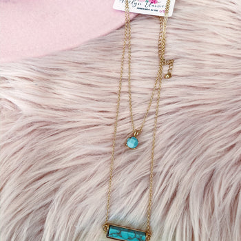 Layering Turquoise Bar Necklace
