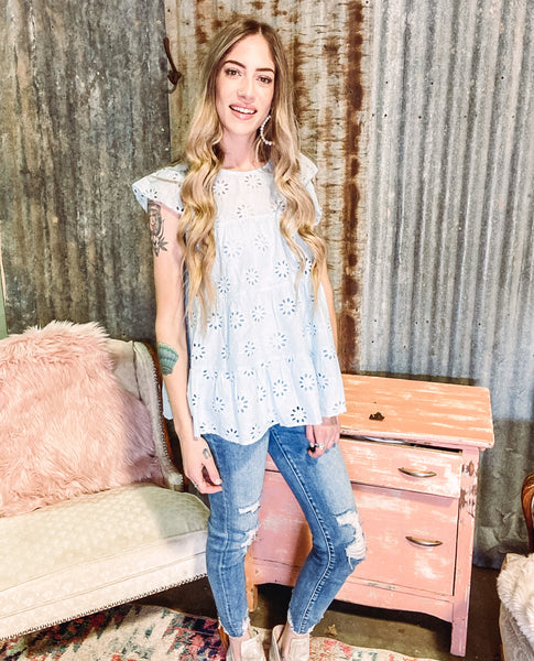 Leavin' On Your Mind - Blue Lace Top  {Reg & Plus}