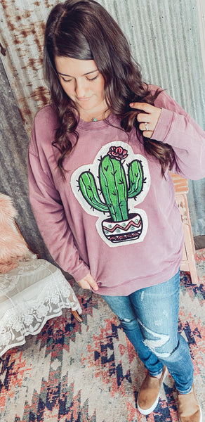 Potted Cactus- Patchwork Sweater