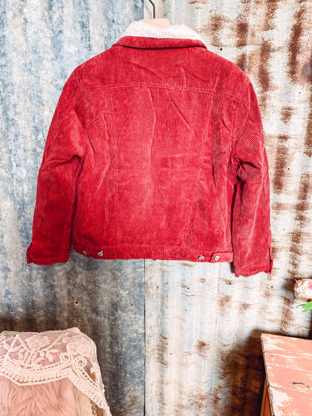 Rust - Sherpa Lined Corduroy Jacket - Small left