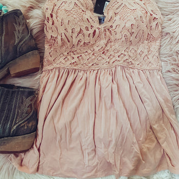 Sweet Caroline - Lace Tank Top - Blush- S & M left