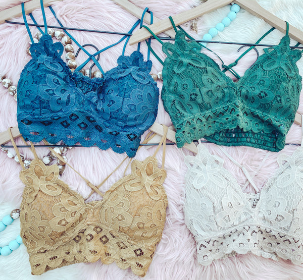 Teal - Long Time Gone Lace Bralette