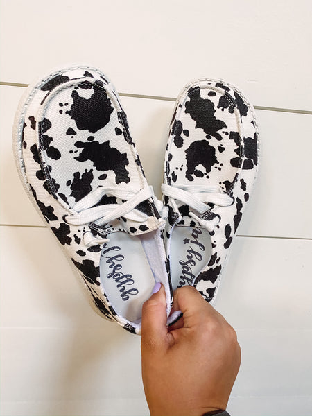 Wide Open Spaces Slip On's - Cow Print