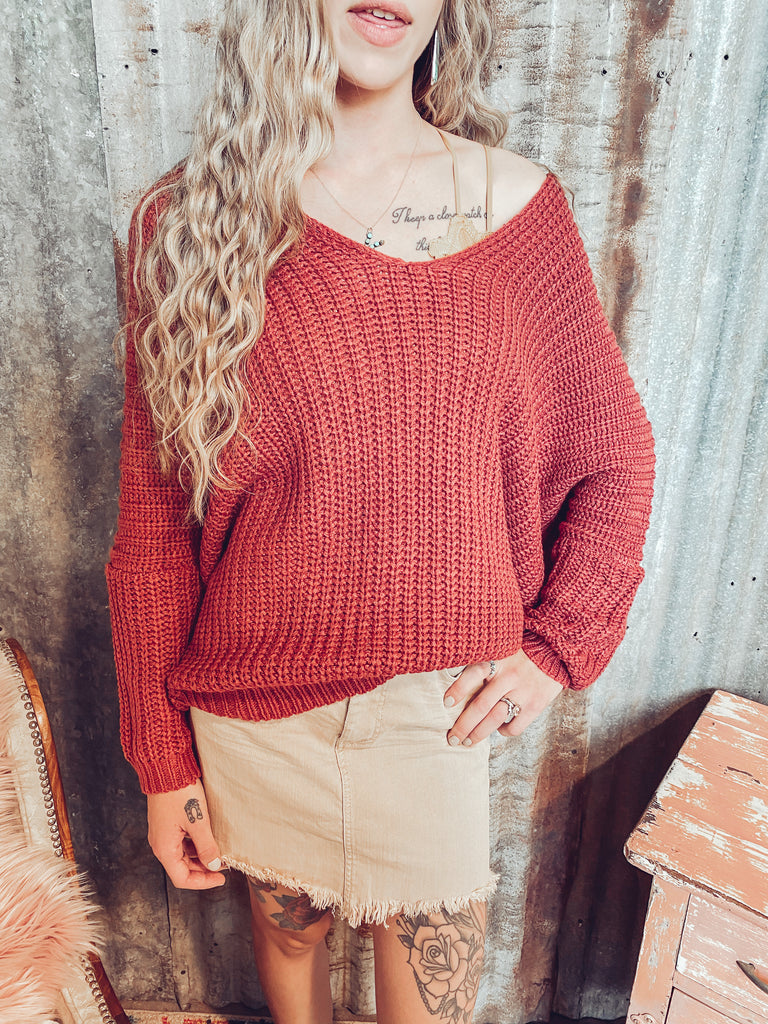 Cowgirl Up - Oversized Copper Sweater - S/M left