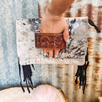 Black Sunflower Strap - Cowhide Clutch