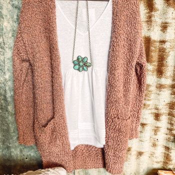 Mauve - Popcorn Cardigan with Pockets