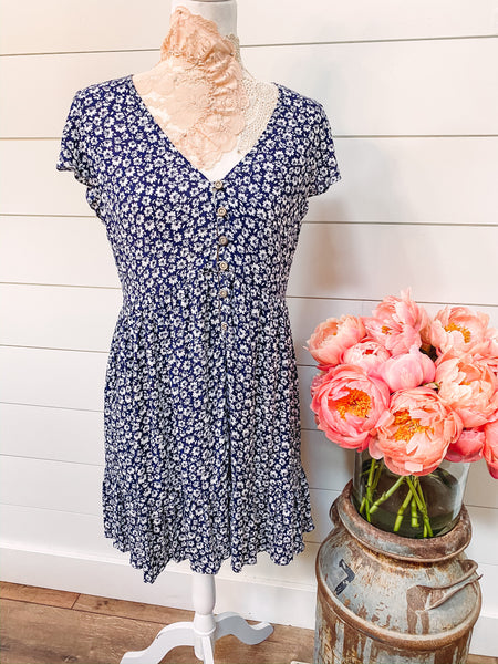 Pickin' Daisies - Blue Floral Dress