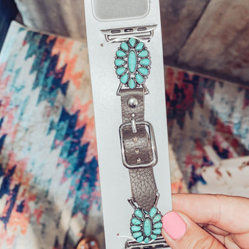 Smaller Flower Blossom  - Turquoise Apple Watch Band