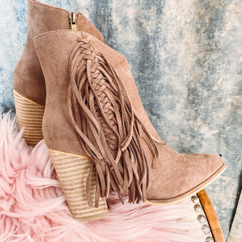 Walk the Line - Fringe Booties