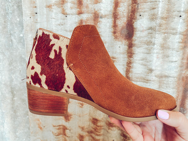 Toasted Greener Pastures - Cowhide Booties - Sizes 8.5 left