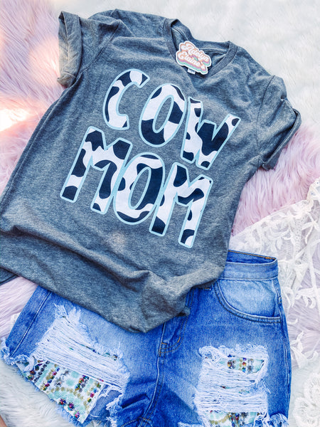 Cow Mom - Crew Neck T-Shirt