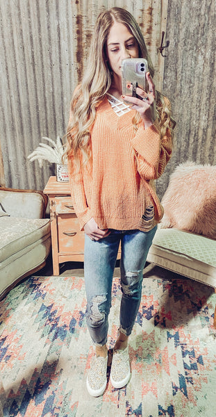 Love Letters- Distressed Knit Sweater- Peach