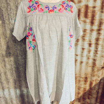 Know When to Fold Them - Embroidered Floral Dress
