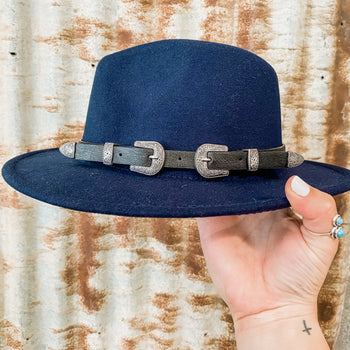 Double Buckle Hat - Black, Navy or Pink