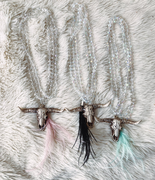 Bull Skull Feathered Car Necklaces