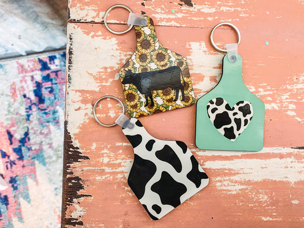 Cow Tag Keychains