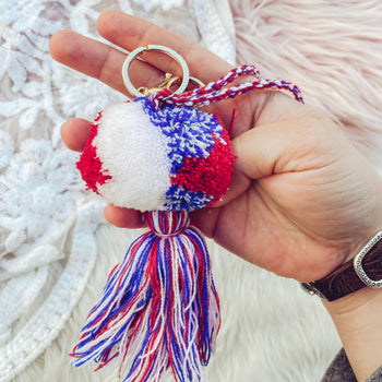 Red, White & Blue Pom Keychain
