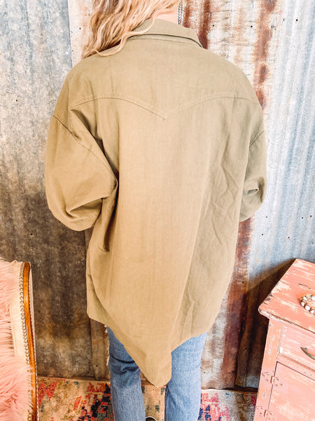 Western Olive Button Down Shirt Jacket