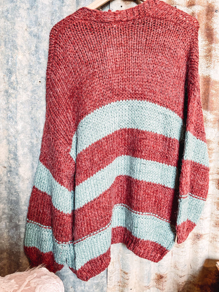 Rust and Sage Striped Sweater