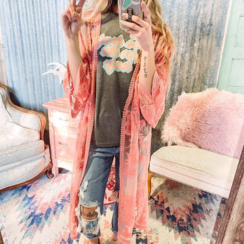 Coral Embroidered Lace Duster