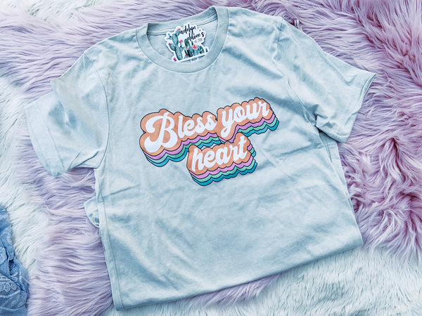 Retro Bless Your Heart - Crew Neck T-Shirt