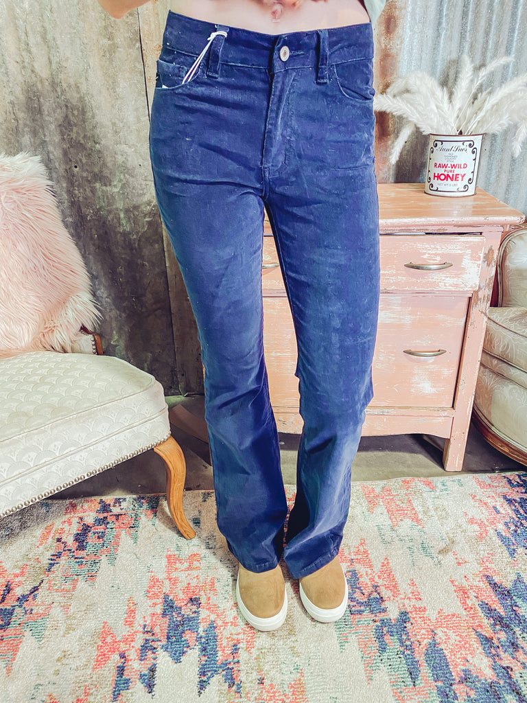 Kentucky Rain- Navy High Rise Flare Jeans