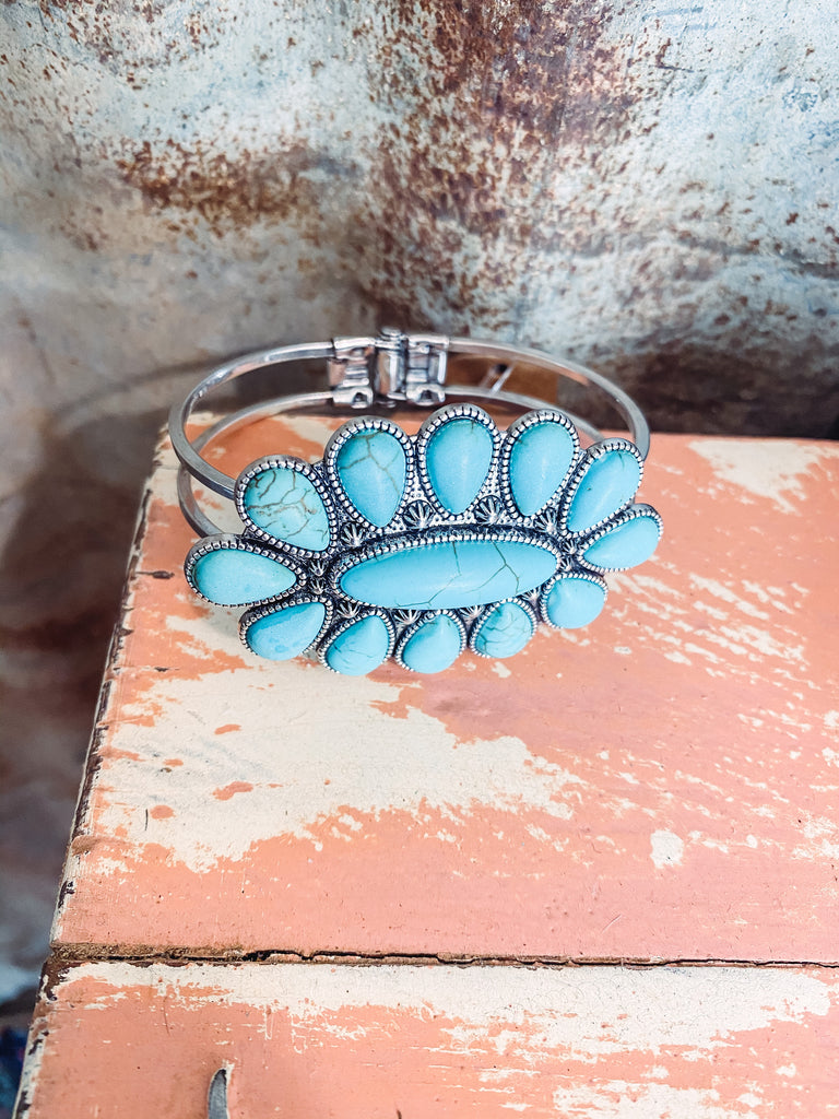 Flower Turquoise Cuff