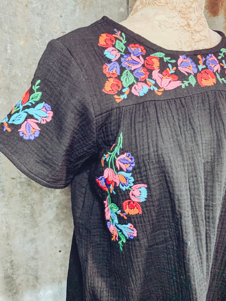 Islands in the Stream - Black Embroidered Top