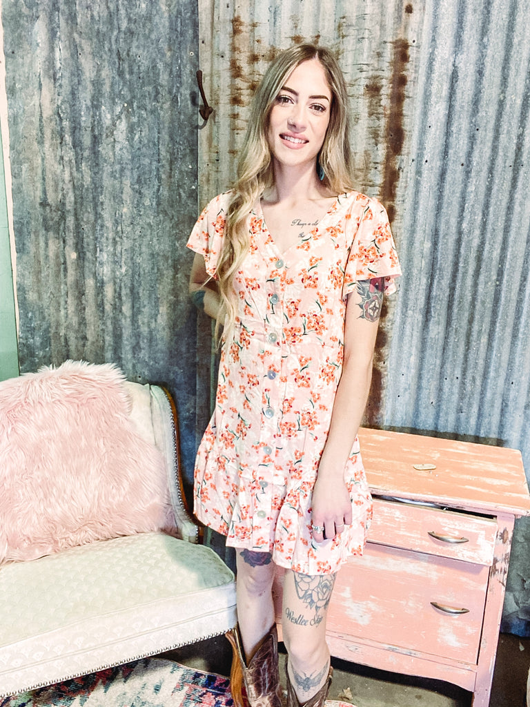 If I Could See The World - Peach Floral Dress